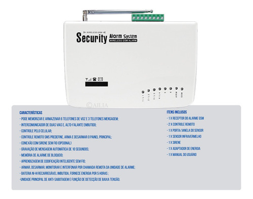 sistema alarme residencial comercio sensor sem fio gsm sms