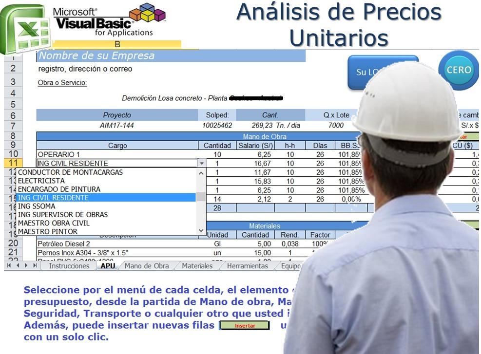 Sistema Análisis De Precios Unitarios Excel Macros (+video) - Bs ...