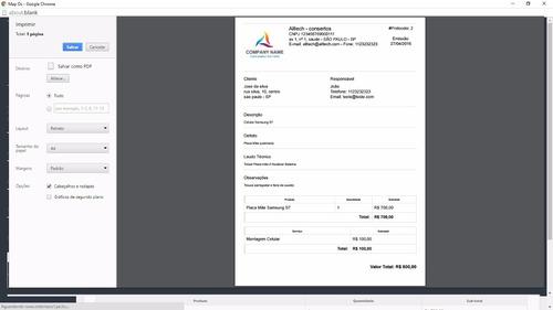 sistema assistência técnica, ordem de serviço, vendas 2018