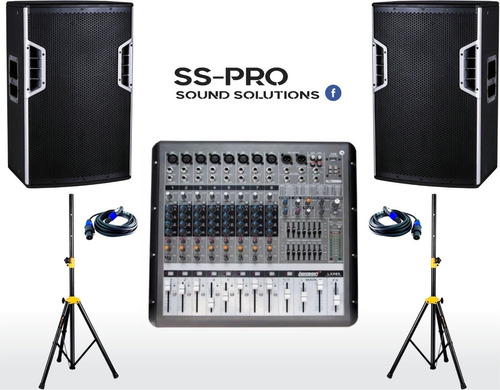 sistema audio consola amplificada microfono parlantes ss-pro