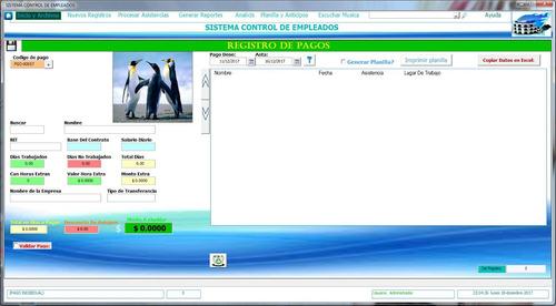sistema  control de empleados