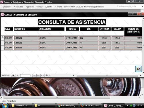sistema control gestión y administración de gimnasiosycen f