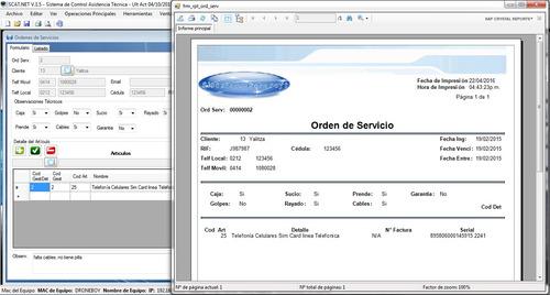 sistema control taller servicio y soporte técnico programa