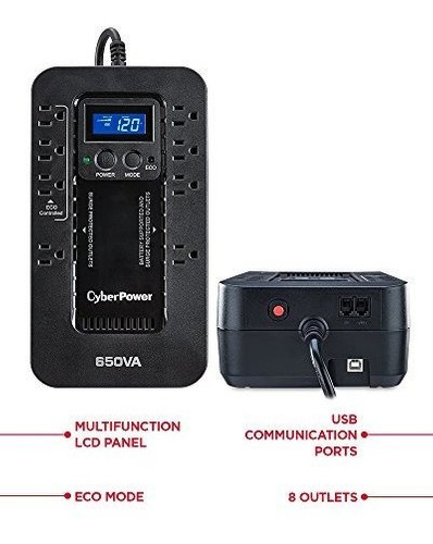 sistema cyberpower ec650lcd ecológico ups, 650va / 390w, 8
