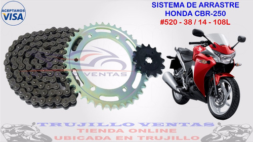 sistema de arrastre honda cbr 250 kit cbr250 racing @tv