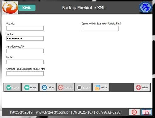 sistema de backup banco de dados firebird e xml de nfe, nfce
