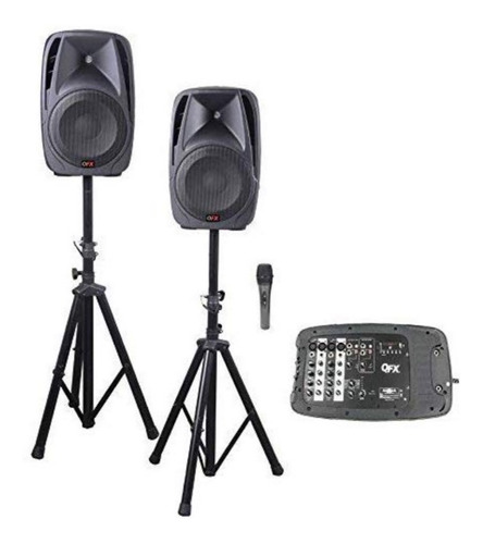 sistema de bocinas p.a. qfx sm211 all in one 8 channel dj