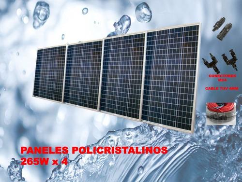 sistema de bombeo solar elevacion 78 m 48v 3000 lt/hora 750w