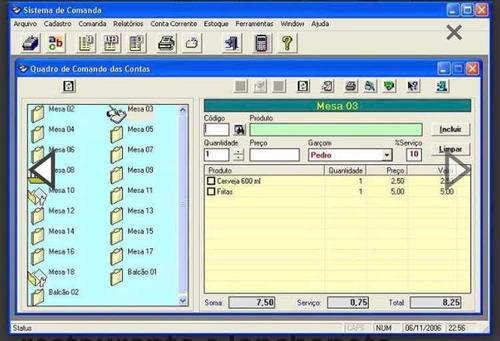 sistema de comandas (controle de caixa)