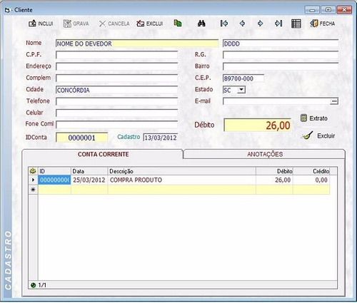 sistema de conta corrente para controle de fiado