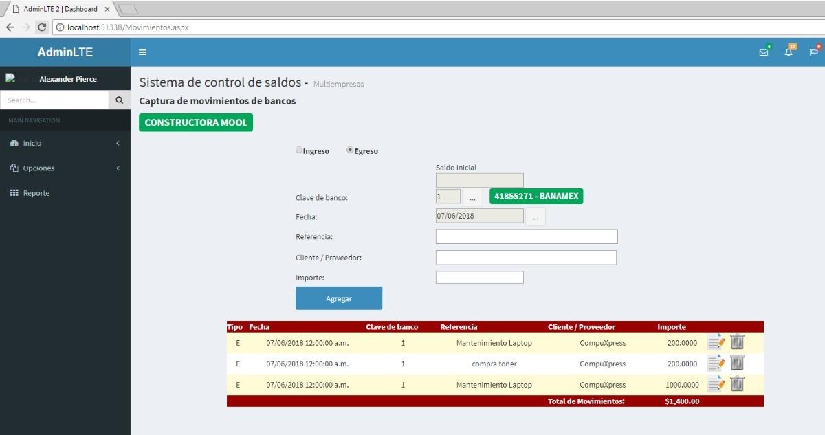 Sistema De Control De Movtos De Bancos Codigo Fuente Asp net