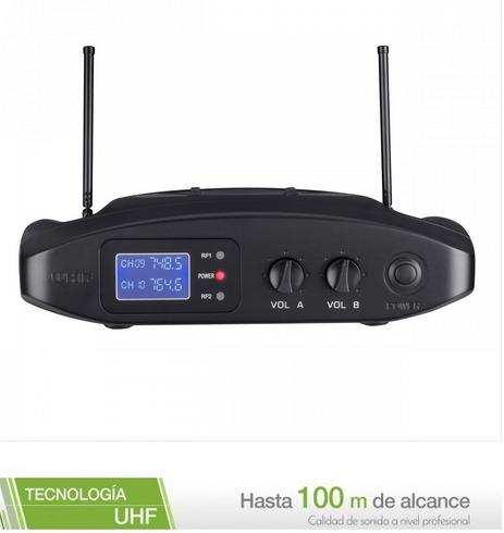 sistema de micrófonos inalámbricos uhf + batería recargable