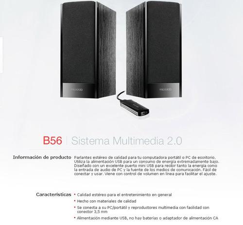 sistema de sonido microlab b56 2.0 ideal para tu pc