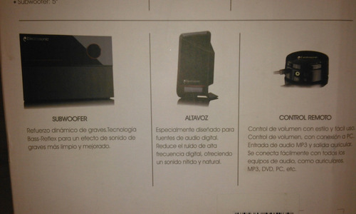 sistema de sonido para pc, celulares, salida 3.5