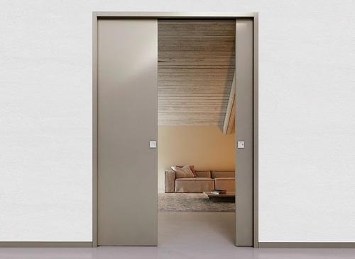 sistema embutir porta dupla de correr parede drywall 102cm