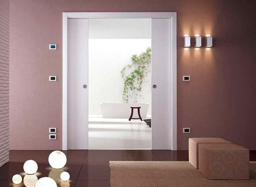 sistema embutir porta dupla de correr parede drywall 92cm