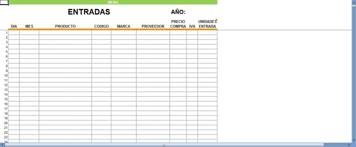 Sistema en excel para control de inventario entradas for Formatos y controles para restaurantes gratis