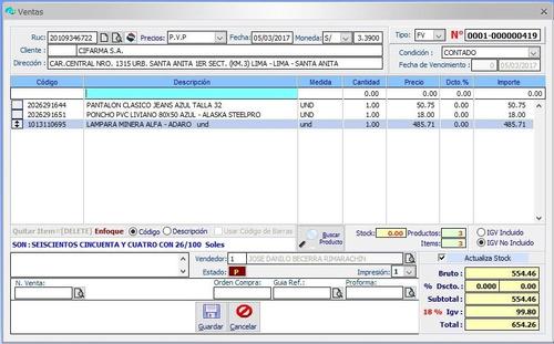 sistema facturacion ventas inventario - my sql server