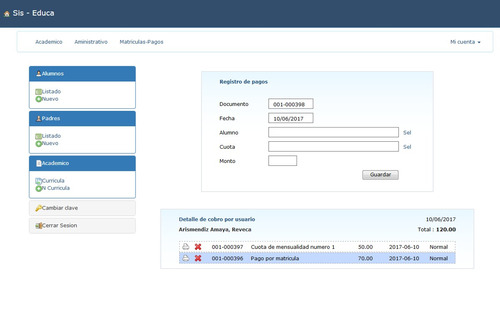 sistema gestion académica, colegio, intranet