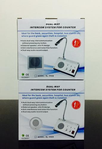 sistema intercomunicador de ventanilla metalico