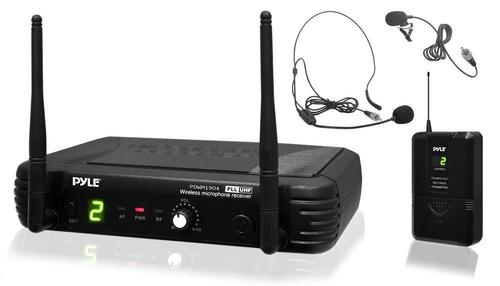 sistema micrófono inalámbrico auriculares led receptor pyle