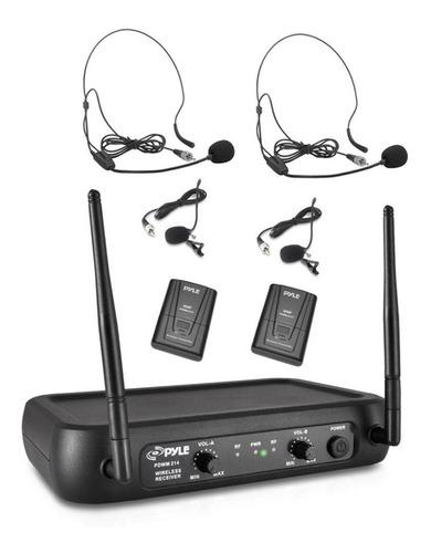 sistema micrófono inalámbrico vhf 2auriculares pyle lavalier