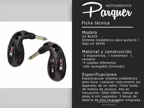sistema micrófono inalambrico xvive u2 guitarra bajo pedales
