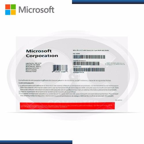 sistema operativo microsoft windows pro 10, 64 bits, español