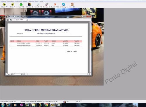 sistema p/ estacionamento e lava jato de veículos