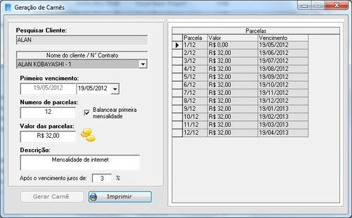 sistema para gerar carnês de pagamento + frete grtátis