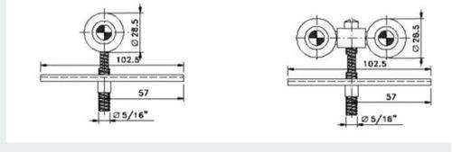 sistema porta correr completo roldanas trilho de 2 m c619
