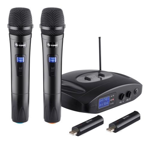 sistema profesional 2 micrófonos inalámbricos uhf recargable