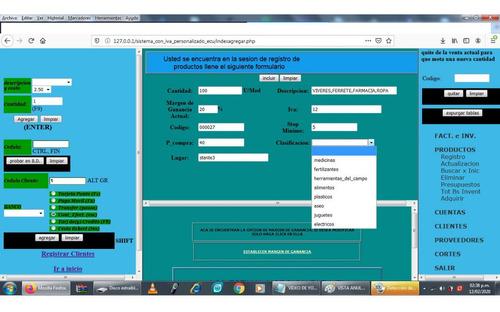 sistema  programa de facturacion forma libre e inventario