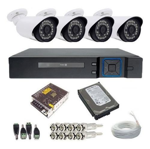 sistema segurança 4 câmeras digitais 1.3 mega dvr 04 ch 720p