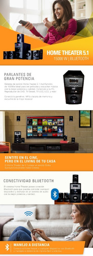 sistema sonido 5.1 home theater usb bluetooth 150w rms pc tv
