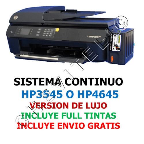 sistema tinta recarga continua hp3545 hp4645 impresora wifi