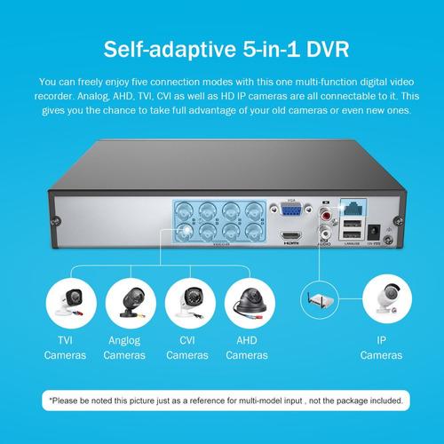 sistema vigilancia cctv, combo dvr 8 ch+ 4 cámaras seguridad