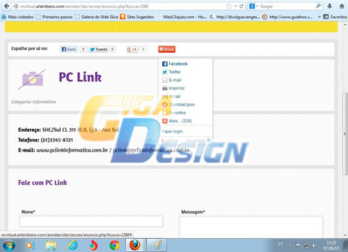site guia comercial script em php com facebook e share