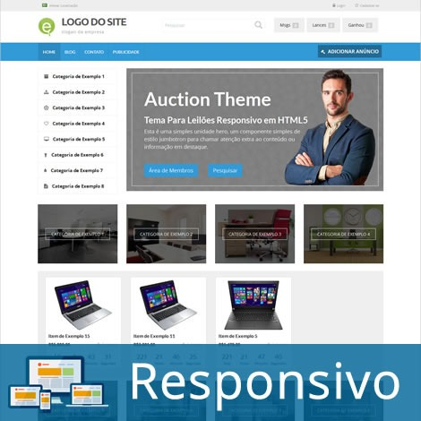 Site Leilão Virtual Wordpress Português Responsivo Tema 233a - R ...