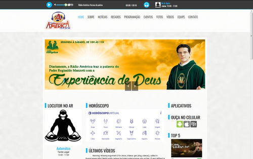 site para web rádio responsivo administrável