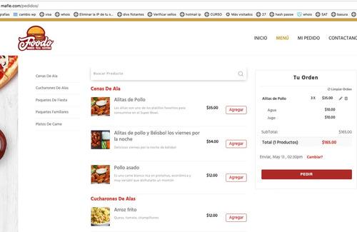 sitio web con pedidos en linea para restaurant
