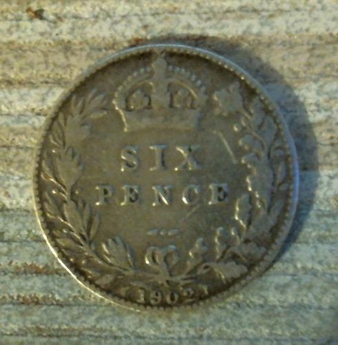 six pence 1902 moneda plata de inglaterra rara de coleccion