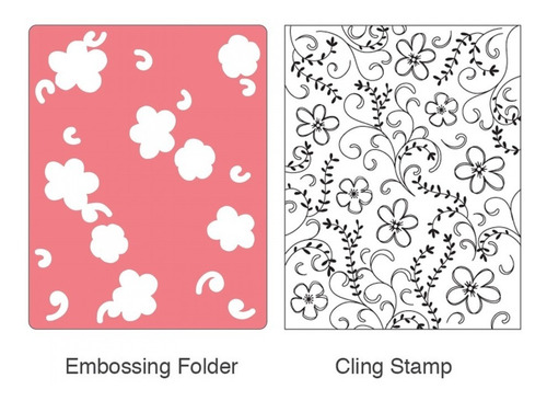 sizzix embossing folder w/stamp - flowers & vines set