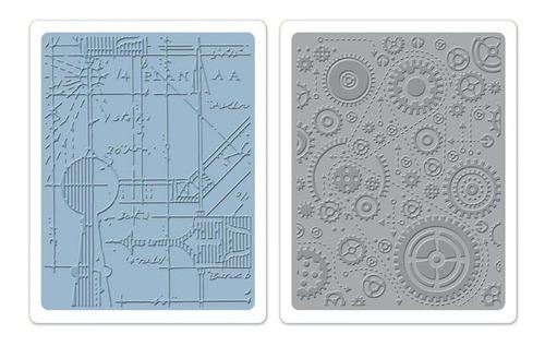 sizzix placas de emboss - blueprint & gears set