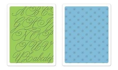 sizzix placas de emboss - elegante script & petite floral