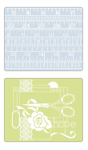 sizzix sewing and measuring tape kit c/2 placas de relevo