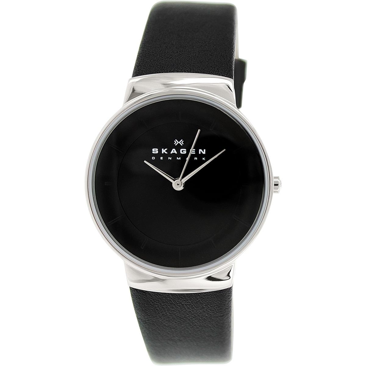 Reloj Skagen Para Mujer Skw2059 Con Correa De Cuero Negro