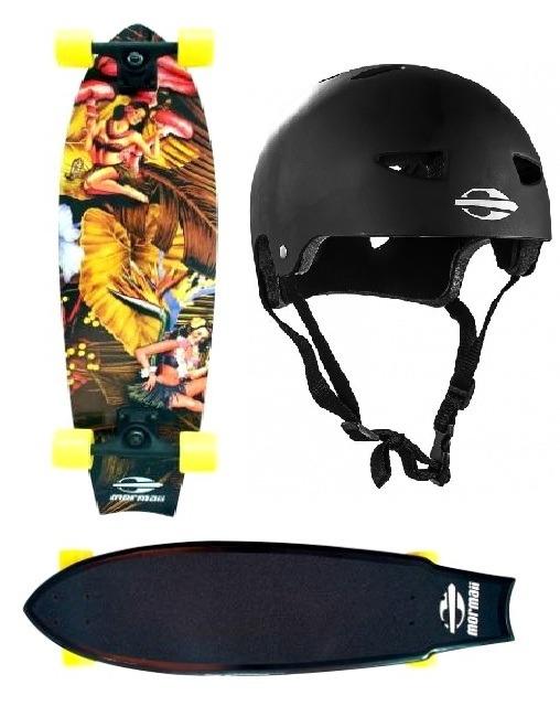 Skate Cruiser Surf Long Fishtail Hawaii + Capacete G Mormaii - R ... 24f858352e5