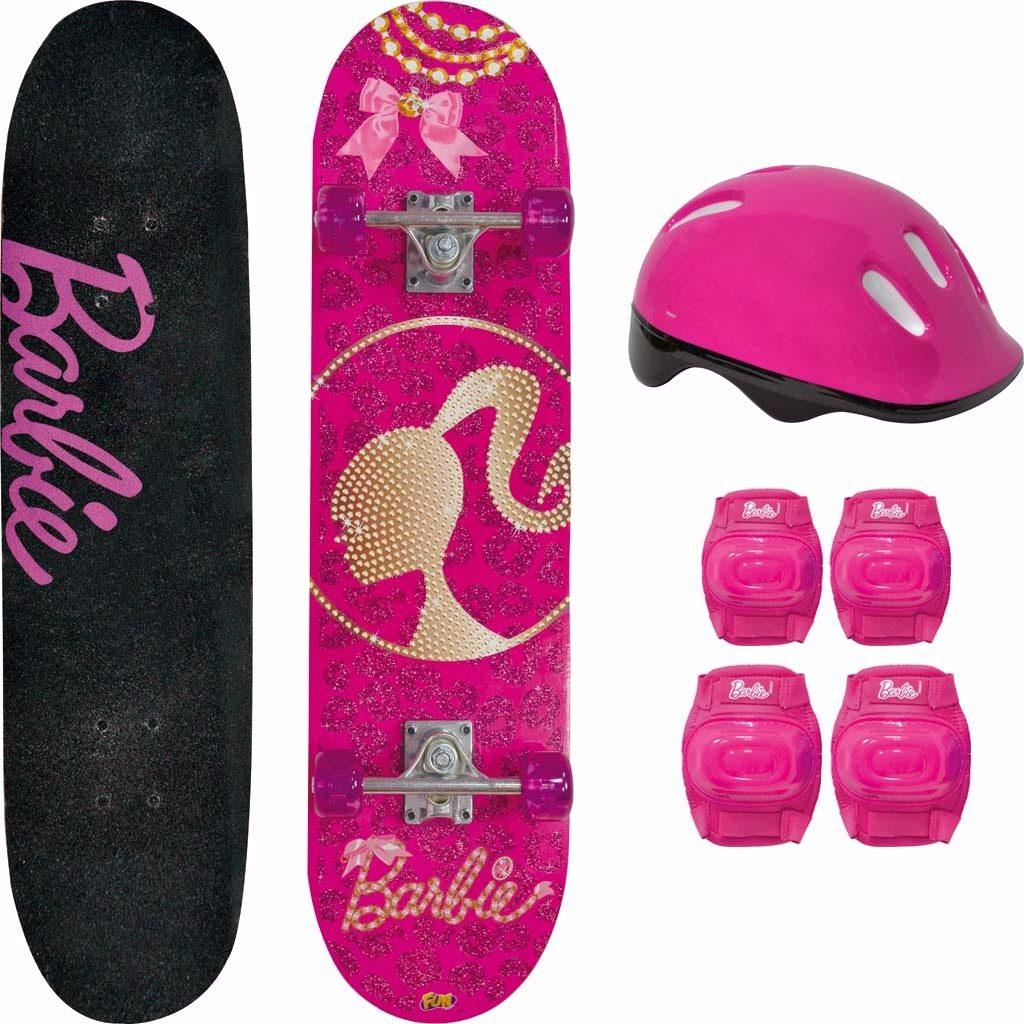 5873b6c0fc3 Skate Da Barbie + Acessórios De Segurança E Adesivos Glitter - R  208