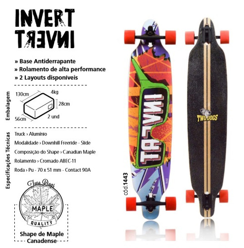 skate longboard twodogs invert d3 abec 11 - 105cm frete grát